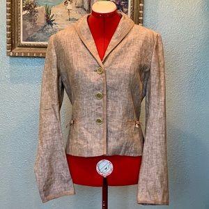 Max Studio wheat colored linen tailored blazer 6